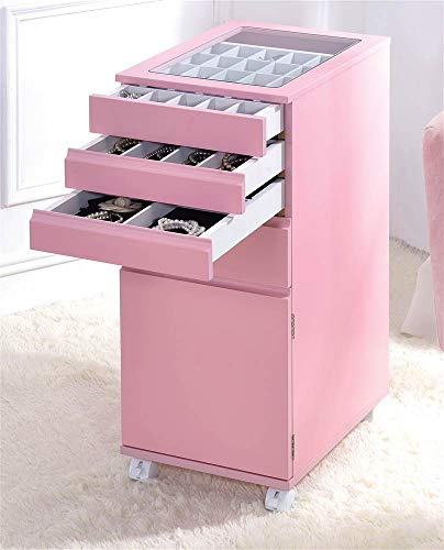 Acme Furniture Jewelry Armoire in Pink