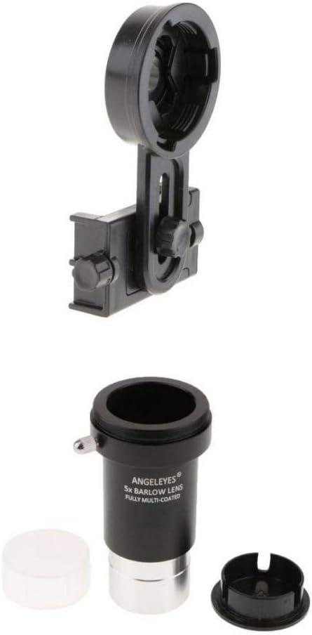 Telescope Cell Phone Adapter Mount Smartphone Microscope Holder Binoculars Bracket Gazechimp 1.25inch Barlow Lens 5X T Adapter Ring