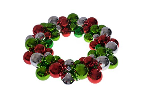 Clever Creations Christmas Ornament Wreath Bright Red Green & Silver | Festive Holiday Décor | Classic Theme | Lightweight Shatter Resistant | Great for Indoor/Outdoor Use | 13.5 x 13.5 x 2.75