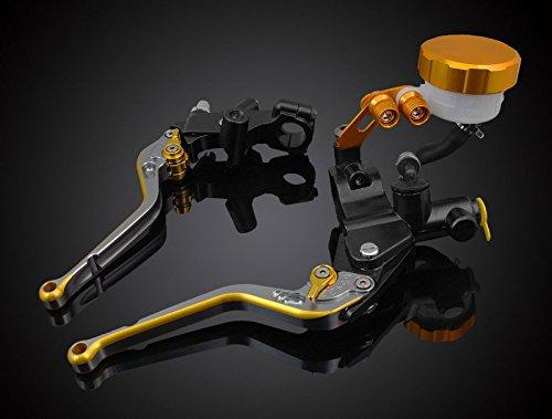 Motorcycle Parts Long Adjustable a set of Aluminum CNC Processing Racing Motorbike Brake & Clutch Master Cylinder Oil Fluid Reservoir Levers Gold Fit For HONDA CBR 600 F2,F3,F4,F4i 1991-2007 (F-18/H-626)