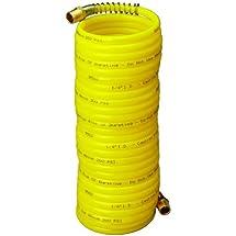 "Amflo 4-25E-RET Yellow 200 PSI Nylon Recoil Air Hose 1/4"" x 25' With 1/4"" MNPT Swivel End Fittings"
