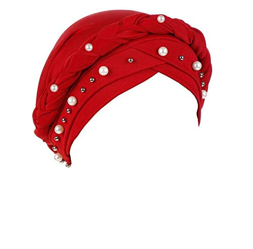 Sunshinehomely Women India Hat Muslim Solid One Tail Chemo Beanie Scarf Turban Warm Wrap Cap (Beading Red)