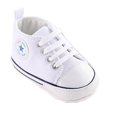 Mjun® Baby Boys Girls Toddlers Canvas Sneakers Lace - Infant Canvas Shoes White