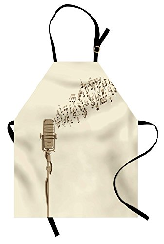 Lunarable Microphone Apron, Retro Equipment in Hand Drawn Style with Music Notes Karaoke Singing Voice, Unisex Kitchen Bib with Adjustable Neck for Cooking Gardening, Adult Size, Beige Cocoa