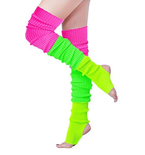 V28 Women 80s Party Warm Costume Marathon Knit Long Socks Leg Warmers (80-Mix3D) ()