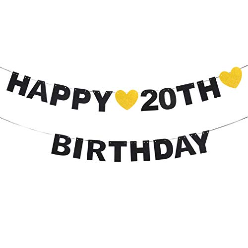 - waway Happy 20th Birthday Black Glitter Paper Letter Banner Pennant Sweet Gold Glitter Heart Cheers to Nineteen Years Old Bday Fabulous Anniversary Party Event Funny Hanging Ornament Decoration Gift.