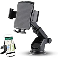 IKOPO 3-in-1 360° Rotating Easy to Use One Touch Cell phone Car Mount Holder Cradle for iPhone Samsung Galaxy LG Nexus(Black)