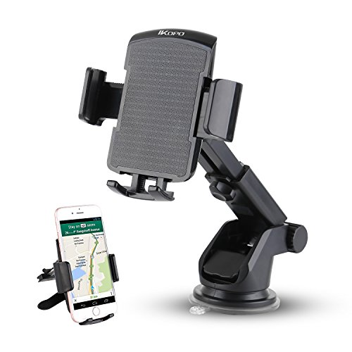 Price comparison product image IKOPO 3-in-1 360° Rotating Easy to Use One Touch Cell phone Car Mount Holder Cradle for iPhone Samsung Galaxy LG Nexus(Black)