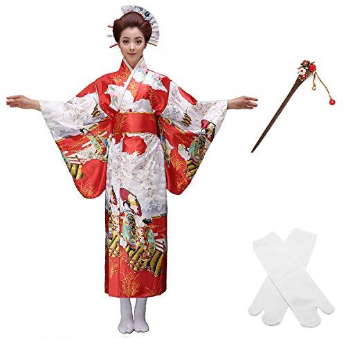 Japanese Anime Lolita Cherry Sakura Flower Printing Kimono Costumes Fancy Dress Hairpin tabi Socks Set(CHF009) Red L]()