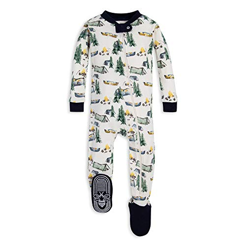 - Burt's Bees Baby Baby Boys Unisex Pajamas, Zip-Front Non-Slip Footed Sleeper PJs, Organic Cotton, Camper's Paradise, 12 Months