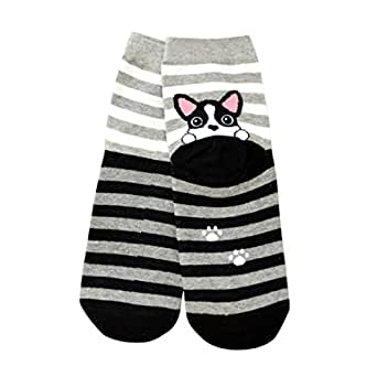 Sankuwen Womens Cute Animals Dog Footprints Floor Socks (Black)