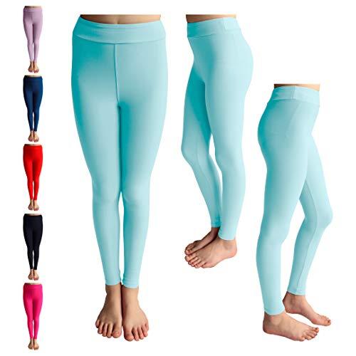 POPINJAY Premium Soft Girls Leggings - Best High Waist Ankle Length 4-Way Stretch Legging for Toddlers and Big Kids (Aqua, 12-14)