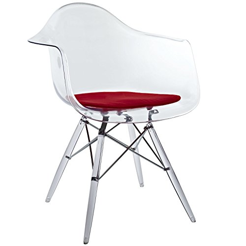 [Modway Pyramid Dining Armchair in Red] (Acrylic Dining Chair)