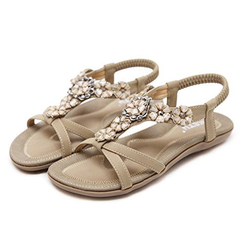 Ruiren Bohemian Sandals for Women, Summer Post Sandals Flip Flops Flat Shoes for Ladies apricot