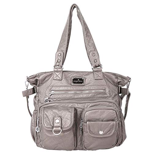 Angelkiss Women's Soft Leather Handbags and Purses Casual Pockets Shoulder Bag Top-handle Tote Bags with Zipper Grey ()