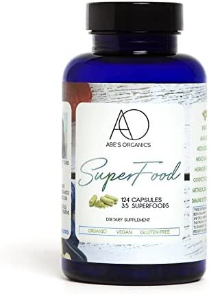 Organic Green Superfood Capsules | Promotes Energy, Focus, Alkalinity, Detox & Immune Strength | Greens Powder with Spirulina, Chlorella, Ashwaganda, Turmeric, Acai, Maca and more | 124 Vegan Capsules