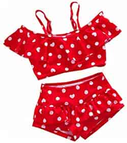d90a7c0225d Two Piece Girl Swimsuit Ruffle Heart Print High Waist Swimsuit Children's Bikinis  Set