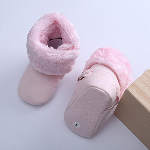 TPulling Kleinkind Neugeborener Baby First Walker Art-Baumwollstiefel-warme Rosa