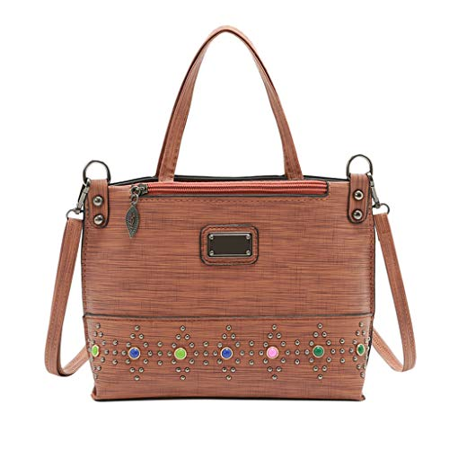 Fainosmny Womens Bag Zipper Rivet Bag Shoulder Bag for Women Shopping Bag Fashion Messenger Bag Crossbody Bag Brown