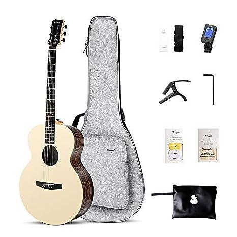 Enya EM-X2 Guitarra acústica tapa de AAA Spruce sólido guitarra de viaje de 36 pulgadas de caso acolchado,Sintonizador,Capo,picos,paño de pulido: Amazon.es: ...