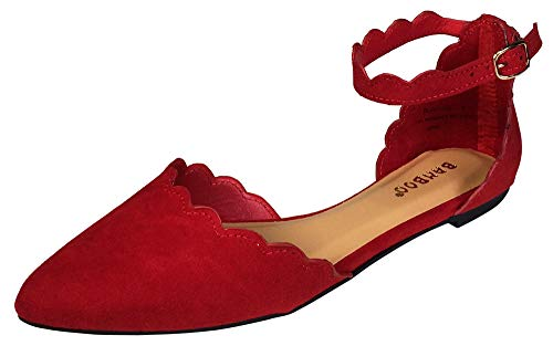 BAMBOO Women's Scallop Edged Almond Toe Open Shank Skimmer with Ankle Strap, Red Faux Suede, 10.0 B (M) US
