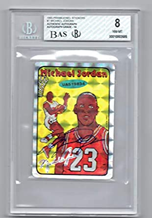 b09822e53bd Amazon.com: 1985 Prism Jewel Michael Jordan Signed Rookie Card BGS 8 ...