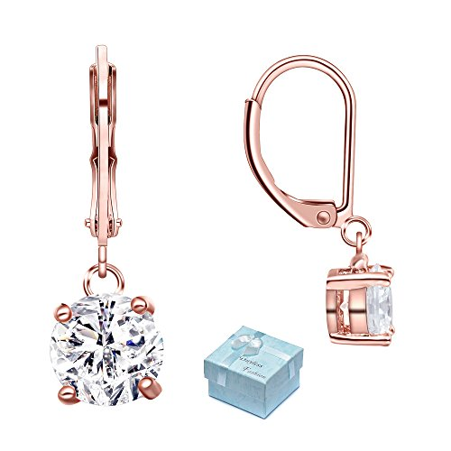 Buyless Fashion Hypoallergenic Surgical Steel Leverback Rose Gold Earring with Dangle CZ (Styled Dangling Earrings)