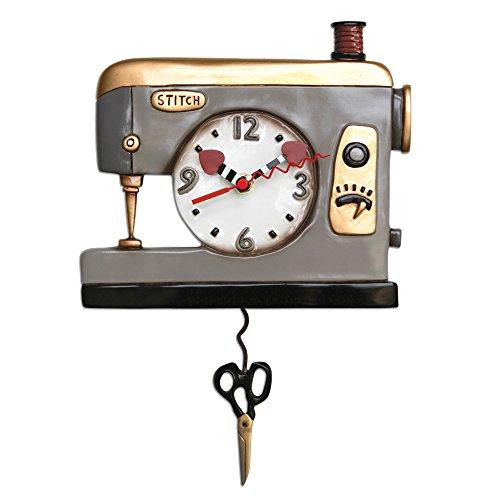 Back Stitch Sewing Machine Pendulum Clock