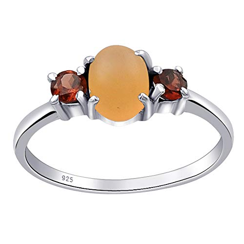 1.40 Ctw Orange MoonStone & Natural Garnet Anniversary Rings For Women By Orchid Jewelry : Engagement And Promise Ring For Her, Multi Birthstone Gifts, Sterling Silver Fashion Rings Size ()
