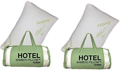 2 PACK Queen Hotel Bamboo Pillow Memory Foam Hypoallergenic Cool Comfort (Halloween Bean Bag Toss Pattern)