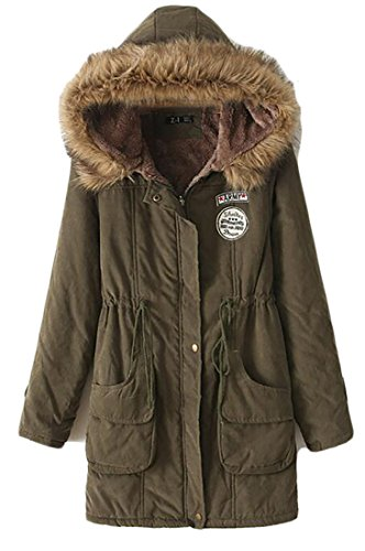 Trim Winter Green M amp;S Hooded Outdoor Coats Fur Warm Parkas Faux amp;W Womens Army OTRXrwTxzq