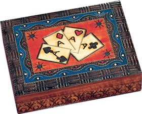 Four Aces Handcrafted Wooden Card Box - A Perfect Gift for Card Players