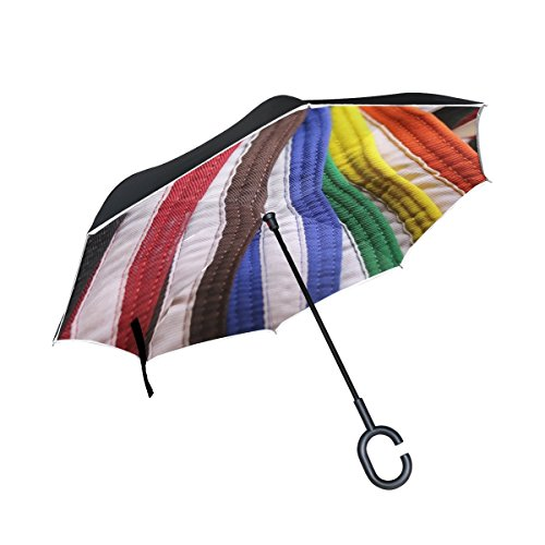 DNOVING Double Layer Inverted Karate Martial Arts Belts Rank Black Red Brown Umbrellas Reverse Folding Umbrella Windproof Uv Protection Big Straight Umbrella For Car Rain Outdoor With C-shaped Handle ()
