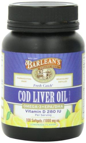 Barlean's Cod Liver Oil Softgels, Lemonade Flavor, 1000 mg. ea., 100 Count Bottle