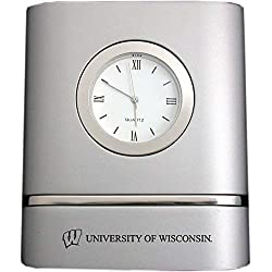 University of Wisconsin-Madison- Two-Toned Desk Clock -Silver