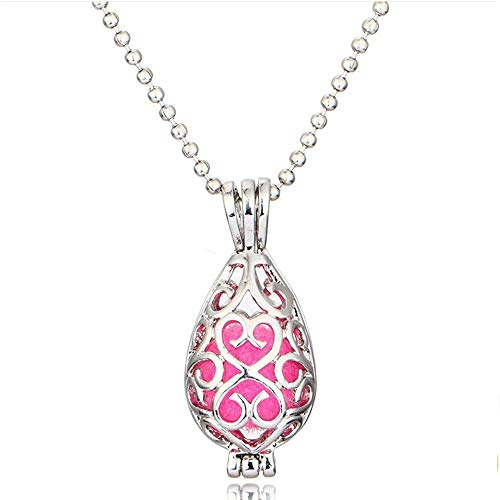 Keychain Metal Heart Locket - Adecco LLC 1PCS Antique Silver Vines Heart Openable Locket Essential Oil Perfume Aromatherapy Diffuser Pendant Necklace with 6 Sponge