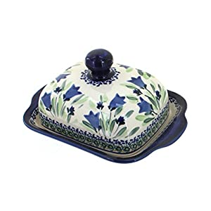 Blue Rose Polish Pottery Blue Tulip Square Butter Dish
