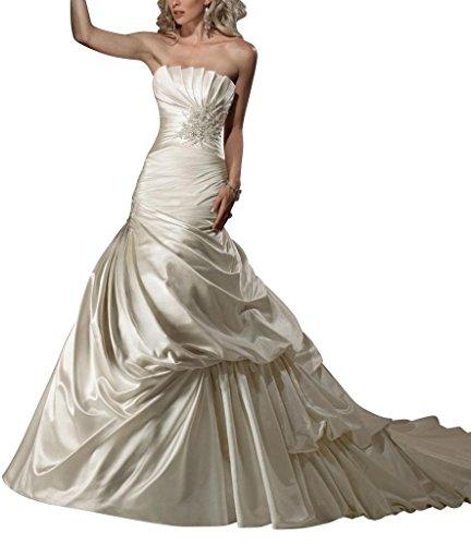 up BRIDE Weiß Kapelle Zug Brautkleider Hochzeitskleider Designer GEORGE Satin Luxus Pick wXBq7p1