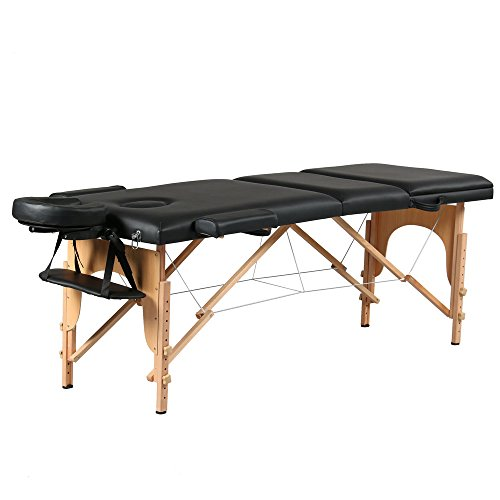 Comfort 3 Section Massage Table All-Inclusive Adjustable Headrest &Height,Professional Wood Folding Facial SPA Bed with Carry Case, Black (Table Pad Head Section)