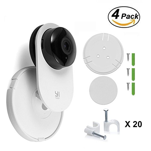 CloverTale-Yi-Home-Camera-Wall-Mount-Stand-Bracket-for-Yi-Home-Security-Camera-360-degree-swivel-full-install-kit-with-Wire-Clips-4-pack