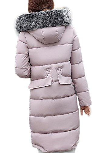 Elegante sudadera con capucha larga lana abrigos abrigo mujeres de con bolsillos Pink