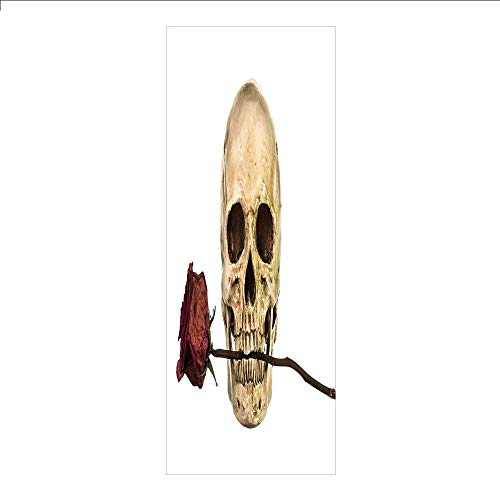 3D Decorative Film Privacy Window Film No Glue,Gothic Decor,Skull with Dry Red Rose in Teeth Anatomy Death Eye Socket Jawbone Halloween Art Decorative,for Home&Office]()