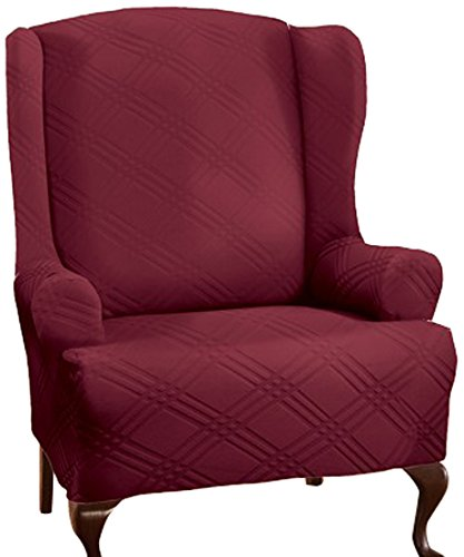 Stretch Sensations 849203014441 Double Diamond Wing Chair Stretch Slipcover, - Slipcover Stretch Diamond