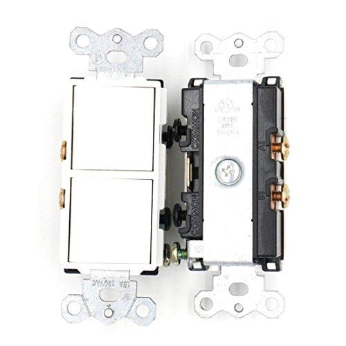 Baomain Duplex Rocker switch 15 Amp, 120 Volt, double Single-Pole AC Combination Switch, Commercial Grade, Grounding, White 2 Pack