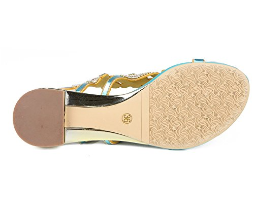 ZPL Women's Ladies Summer T-Strap Rhinestone Flip-Flops Flat Sandals Bohemia Beach Shoes Blue d9w17s59