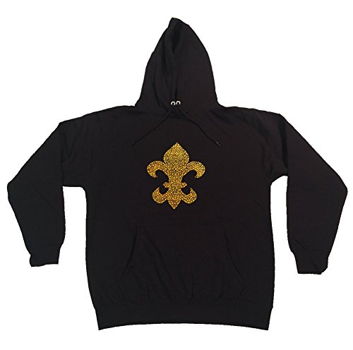 Women's Pullover Hoodie with Gold Rhinestud Fleur De Lis (3X)