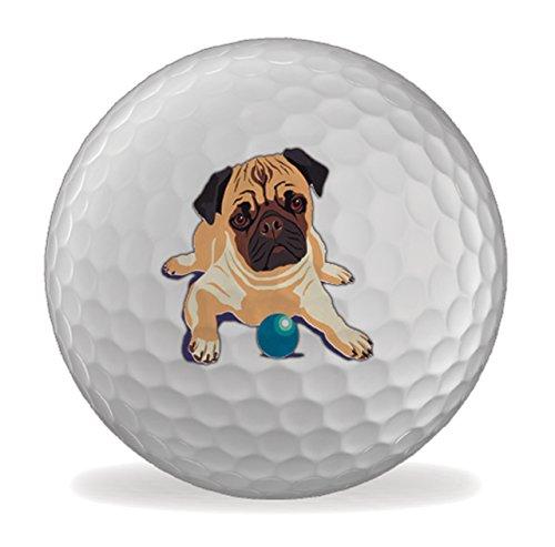 Pug Dog Martin Wiscombe Set of 3 X Golfer Golf Balls