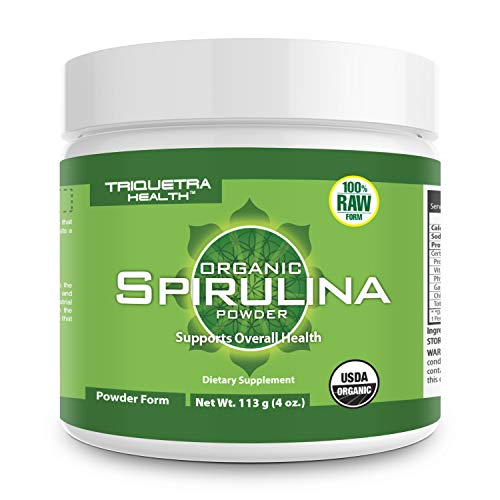 Organic Spirulina Powder (37 Servings): 4 Organic Certifications - Certified Organic by USDA, Ecocert, Naturland & OCIA - Vegan Farming Process, Non-Irraditated, Max Nutrient Density