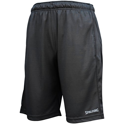 Spalding Mens Active Interlock Basketball Gym Athletic Workout Shorts with Contrast Side Panel Jet Black M
