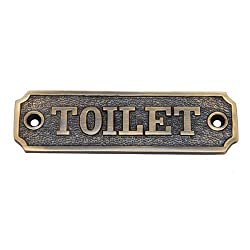Adonai Hardware Medium Toilet Brass Door Sign - Antique Brass